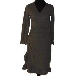 Slå om kjole med flæse, grå