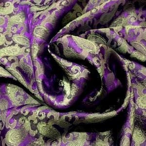 Tørklæde i vietnamesisk silke, lilla m mint