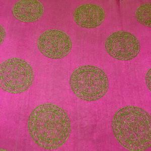 Tørklæde i vietnamesisk silke, pink m lime cirkler