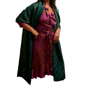 Tørklæde i vietnamesisk silke, rosenrød