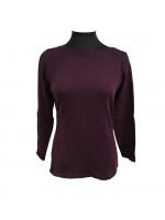 Merino t-shirt med bådhals, lilla