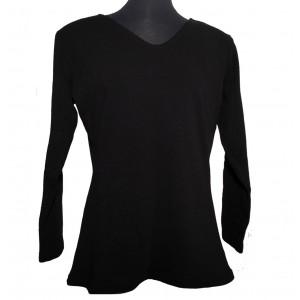 Uld t-shirt med V-hals, sort