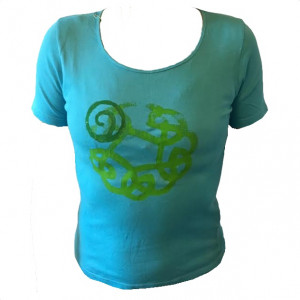 T-shirt med print, tyrkis