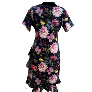 Clara, slå om kjole m flæse. Øko