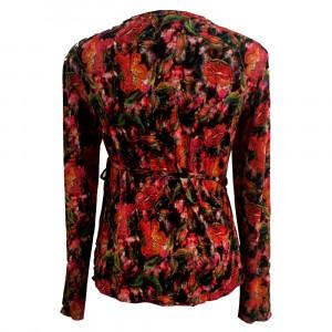Nina slå om bluse, flower, str. s,m, l.