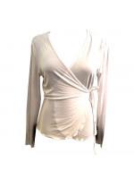 Nina slå om bluse, hvid, str. s,m, l.