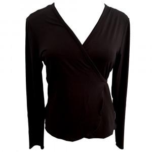 Nina slå om bluse, sort one size